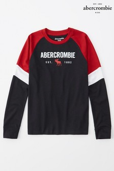 Abercrombie & Fitch Black Raglan Printed T-Shirt