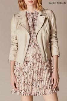 Karen Millen Neutral Oatmeal Signature Leather Jacket