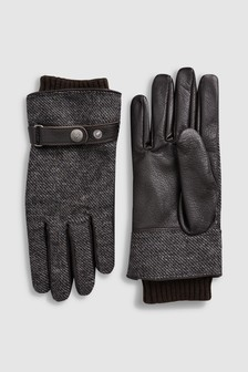 Leather Fabric Mix Gloves