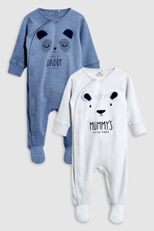 Character Mummy And Daddy Sleepsuits Two Pack (0mths-2yrs)