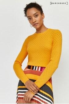 Warehouse Yellow Fan Stitch Jumper