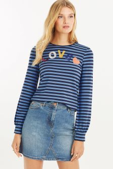 Oasis Blue Love Stripe Balloon Sleeve Top
