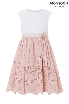 Monsoon May Kleid mit Lochstickerei, Rosa
