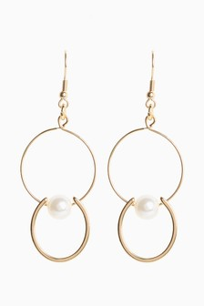 Pearl Effect Circle Drop Earrings