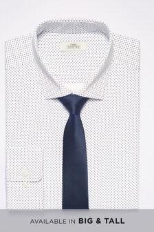 Dot Print Shirt With Tie