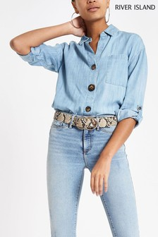 River Island Blue Button Casual Shirt