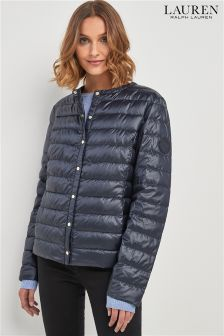 Lauren By Ralph Lauren Navy Collarless Quilted Jacket