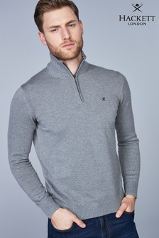 Hackett Grey Half Zip Logo Jumper
