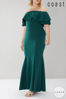 Coast Curve Green Chloe Bardot Maxi Dress