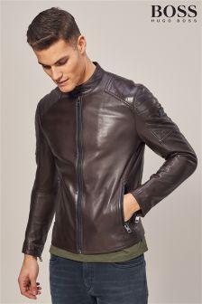BOSS Brown Jaysee Leather Jacket