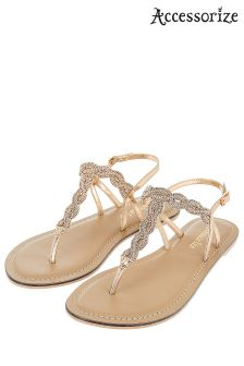 Accessorize Metalic Rosie Twist Sandal