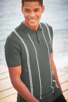 Knitted Vertical Stripe Polo