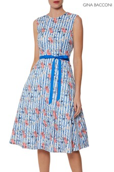 Gina Bacconi Blue Cardella Jacquard Dress