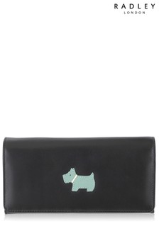 Radley Black Heritage Dog Large Flapover Matinee Purse