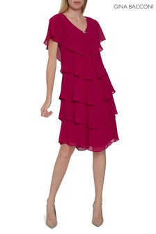 Gina Bacconi Pink Sorina Tiered Dress