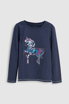 Sequin Unicorn Long Sleeve Top (3-16yrs)
