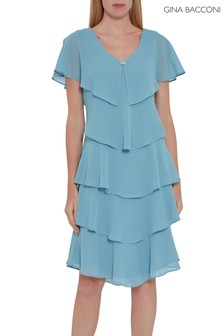 Gina Bacconi Blue Ysela Tiered Dress