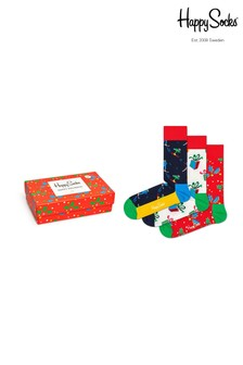Happy Socks Red Multi Socks Three Pack Singing Christmas Gift Box