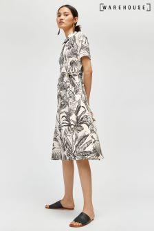 Warehouse White Base Jungle Print Shirt Dress