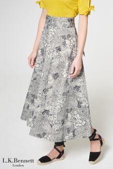 L.K.Bennett Navy/Cream Aurell Skirt