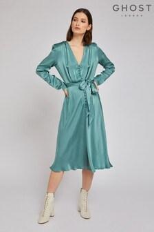 Ghost London Green Meryl Bay Satin Dress