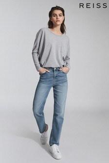 Reiss Grey Cassie Cotton Jersey Long Sleeved T-Shirt