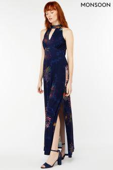 Monsoon  Blue Jasmine Print Maxi Dress