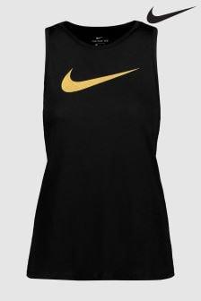 Черный спортивный топ в золотистую крапинку Nike