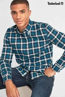 Timberland® Blue Slim Fit Herringbone Check Shirt