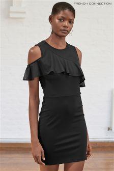 French Connection Black Lore Lula Ponte Cutout Shoulder Dress