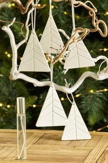 Set of 5 Pine, Cedar & Eucalyptus Ceramic Fragranced Decorations