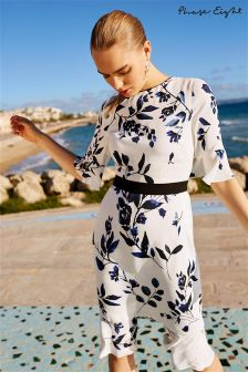 Phase Eight Ivory/Navy Antonetta Printed Floral Dress