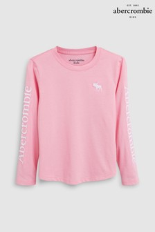 Abercrombie & Fitch Pink Logo Long Sleeve Tee