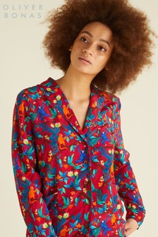 Oliver Bonas Red Botanical Print Relaxed Shirt