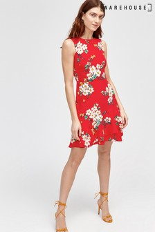 Warehouse Red Blossom Print Dress