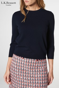 L.K.Bennett Blue Beatrix Cash Crew Neck Jumper
