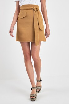 Utility Pocket Belted Mini Skirt