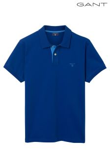 GANT Yale Blue Contrast Collar Short Sleeved Pique Polo