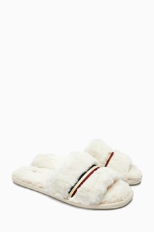 Stripe Faux Fur Sliders