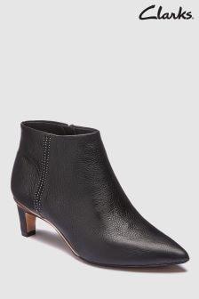 Clarks Black Leather Ellis Eden Low Heel Boot