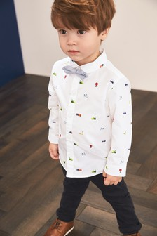 Long Sleeve Car Print Shirt And Bow Tie Set (3mths-7yrs)
