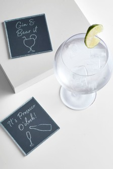Set of 2 Drink Slogan Coasters