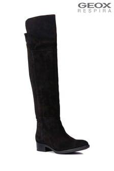 Geox Felicity Black Over The Knee Suede Boot