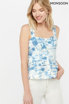 Monsoon Ladies Blue Bobby Boat Print Poplin Cami