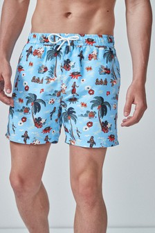 Hawaiian Print Swim Shorts