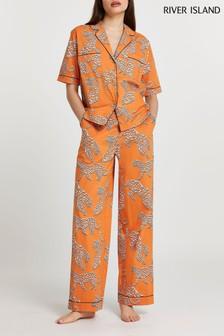 River Island Orange Leopard Printed Pyjama Trousers