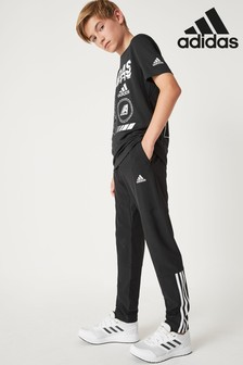 adidas Black Training Woven 3 Stripe Joggers
