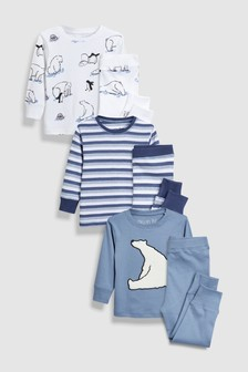 Polar Bear/Penguin Snuggle Fit Pyjamas Three Pack (9mths-8yrs)
