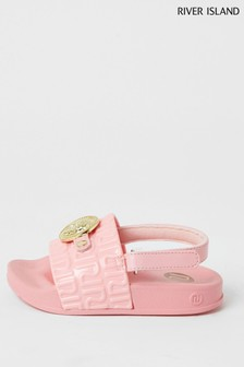 River Island Coral Jelly Panther Head Sliders