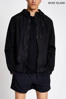 River Island Black Nylon Hooded Jacket